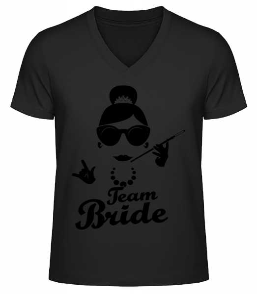 Team Bride - Men's V-Neck Organic T-Shirt - Black - Vorn