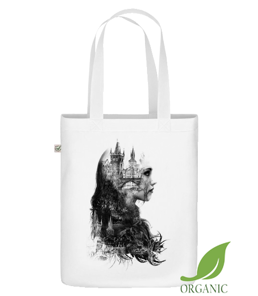 "Fantasy City Girl - Organic ""Earth Positive"" tote bag - White - Vorn"