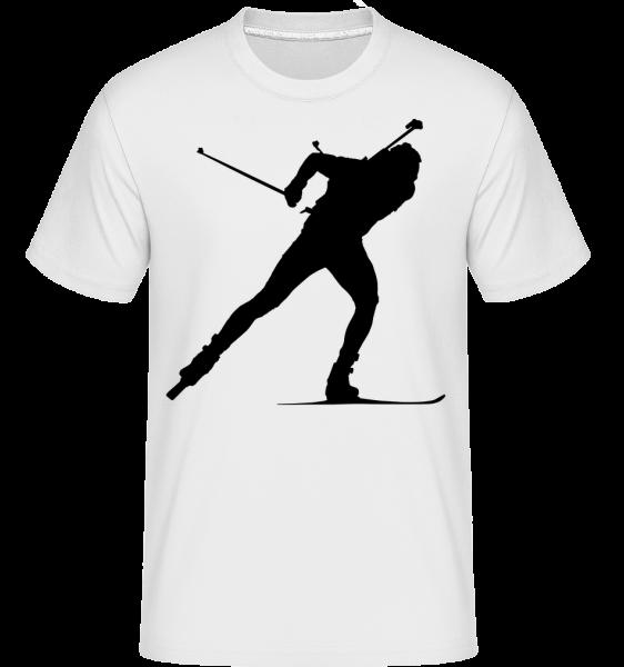 Skiing Cross Country Black -  Shirtinator Men's T-Shirt - White - Vorn