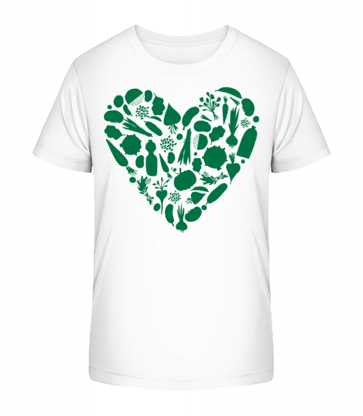 Vegetarian Heart - Kid's Premium Bio T-Shirt - White - Vorn
