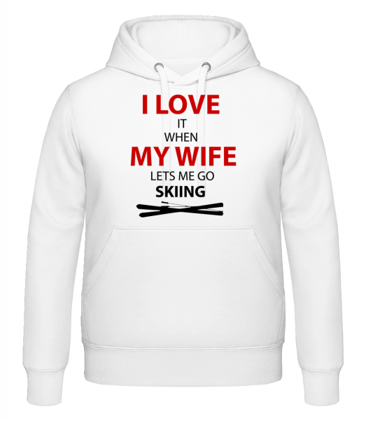 I Love Wife And Skiing - Hoodie - White - Vorn