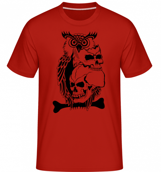 Owls Skulls Tattoo -  Shirtinator Men's T-Shirt - Red - Vorn