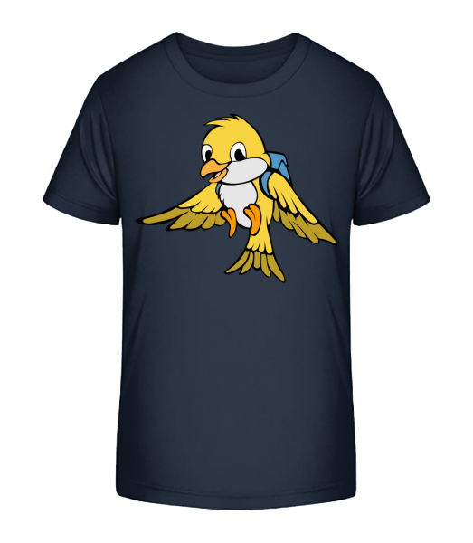 Cute Bird With Bag - Kid's Premium Bio T-Shirt - Navy - Vorn