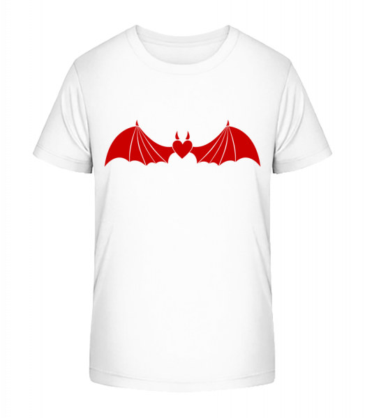 Devil Heart With Wings - Kid's Premium Bio T-Shirt - White - Vorn
