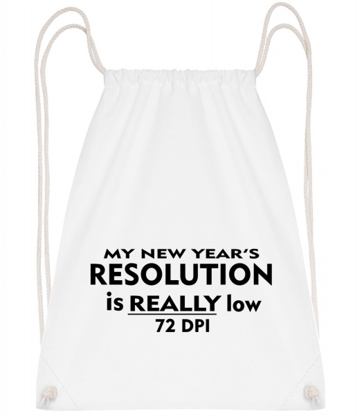 New Years Resolution - Drawstring Backpack - White - Vorn