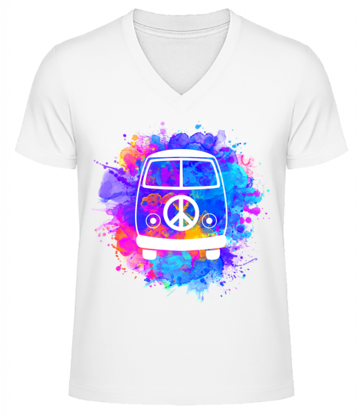 Hippie Bus - Men's V-Neck Organic T-Shirt - White - Vorn