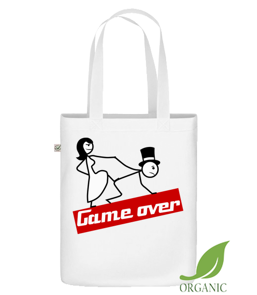 "Game Over - Organic ""Earth Positive"" tote bag - White - Vorn"