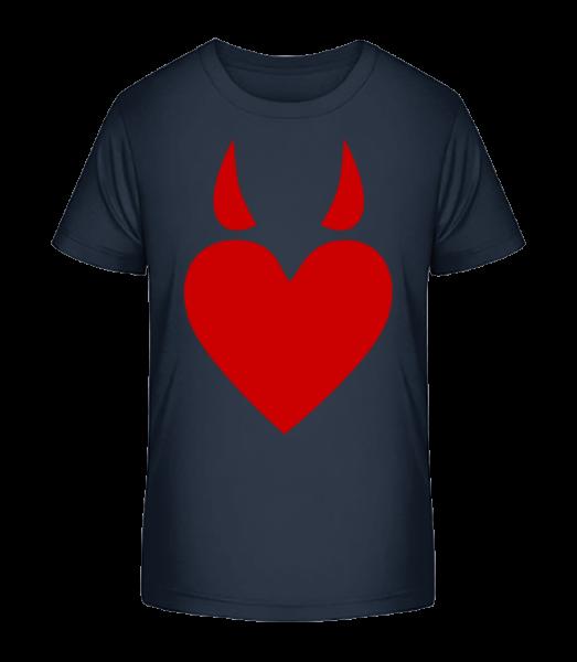 Devil Heart - Kid's Premium Bio T-Shirt - Navy - Vorn