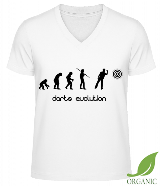 "Darts Evolution - ""James"" Organic V-Neck T-Shirt - White - Vorn"
