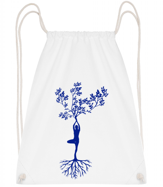 Harmonic Yoga Earth Tree - Drawstring Backpack - White - Vorn
