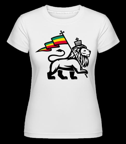 Lion Jamaican Flag -  Shirtinator Women's T-Shirt - White - Vorn