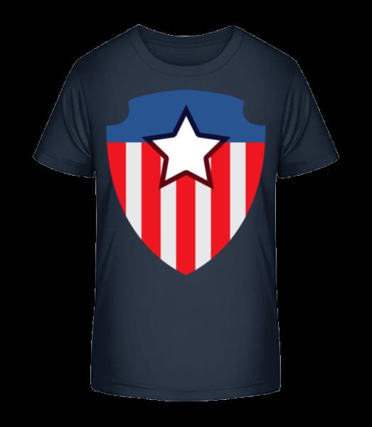 Superhero Emblem - Kid's Premium Bio T-Shirt - Navy - Vorn