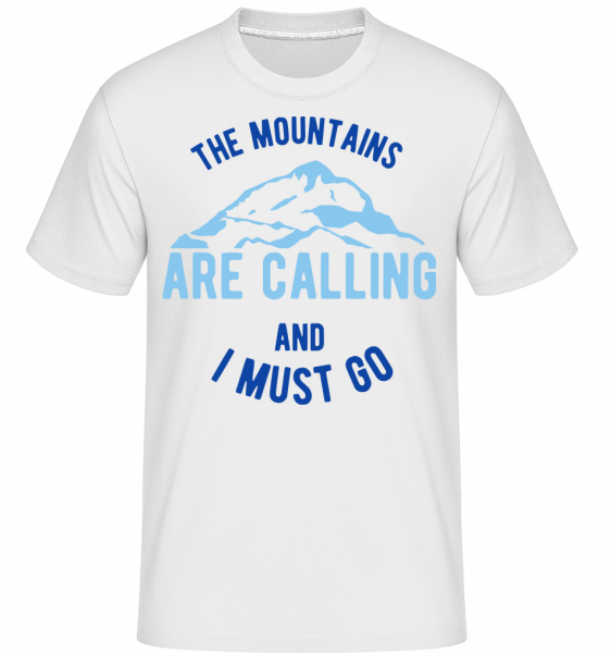 The Mountains Are Calling And I Must Go Blue -  Shirtinator Men's T-Shirt - White - Vorn