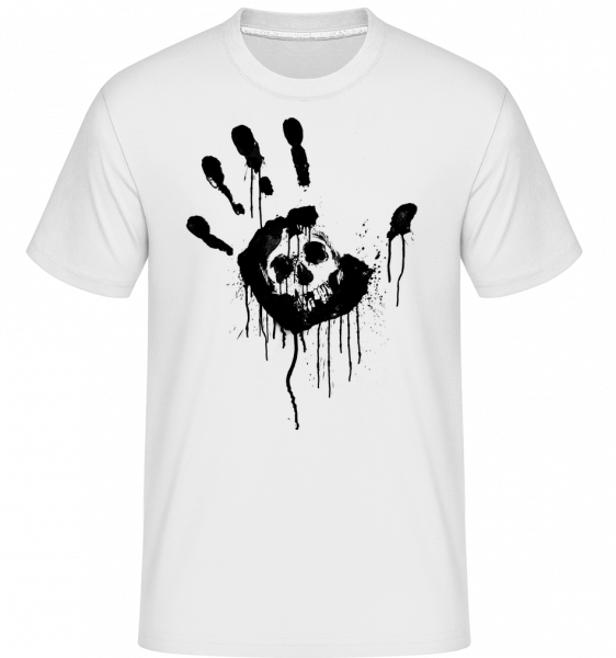 Crâne Main Noire - Shirtinator Men's T-Shirt - White - Vorn