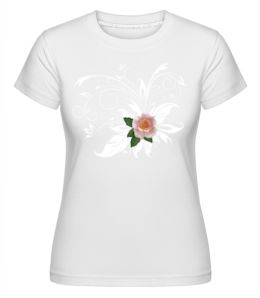 Pink White Rose -  Shirtinator Women's T-Shirt - White - Vorn