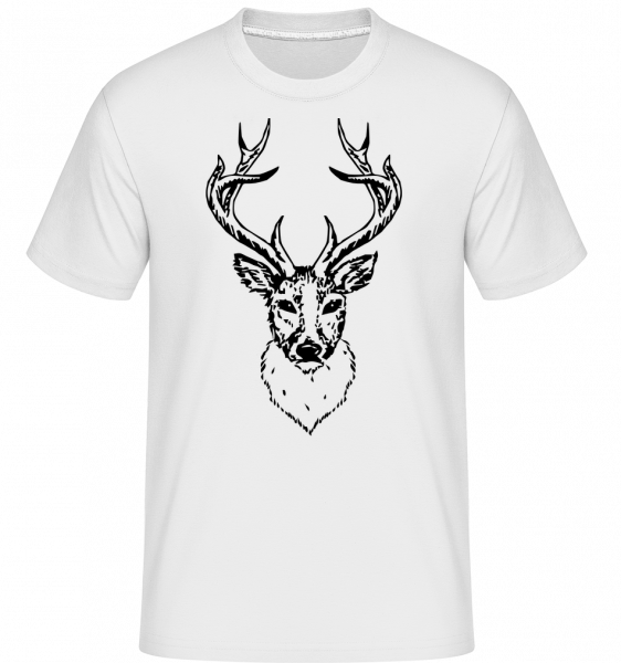 Deer Head Black - Shirtinator Men's T-Shirt - White - Vorn