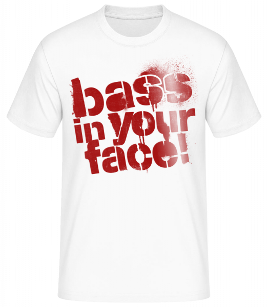 Bass In Your Face - Men's Basic T-Shirt - White - Vorn