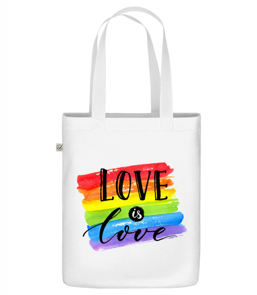 """Love Is Love - Organic """"Earth Positive"""" tote bag - White - Vorn"""