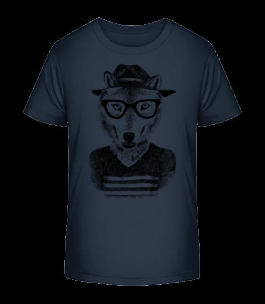 Hipster Fox - Kid's Premium Bio T-Shirt - Navy - Vorn