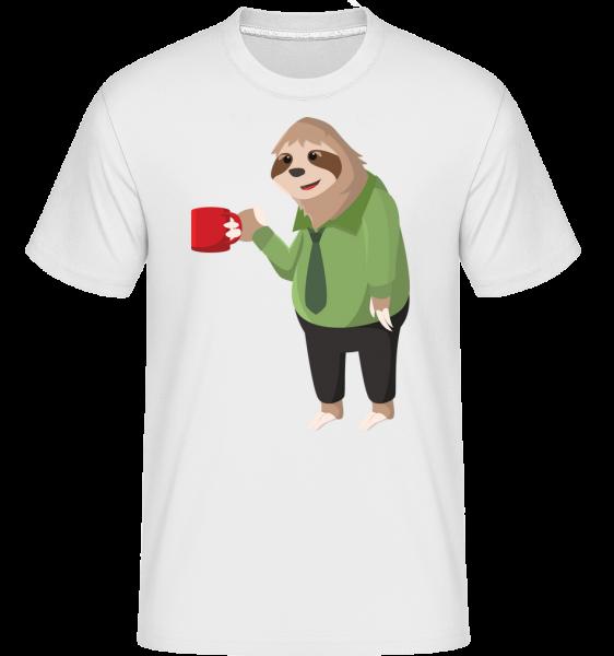 Sloth Drinks Coffee -  Shirtinator Men's T-Shirt - White - Vorn