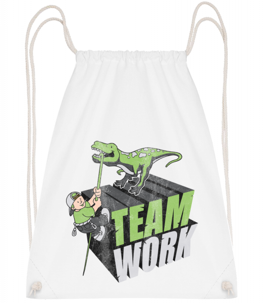 Dinosaur Teamwork - Drawstring Backpack - White - Vorn