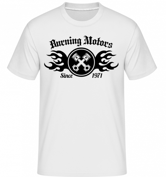 Burning Motors Biker -  Shirtinator Men's T-Shirt - White - Vorn