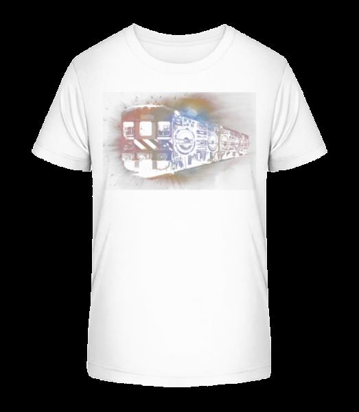 Ghetto Blaster Train - Kid's Premium Bio T-Shirt - White - Vorn