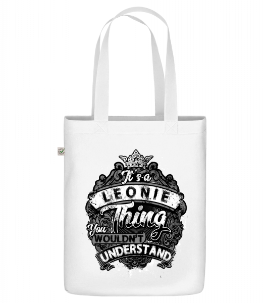 """It's A Leonie Thing - Organic """"Earth Positive"""" tote bag - White - Vorn"""
