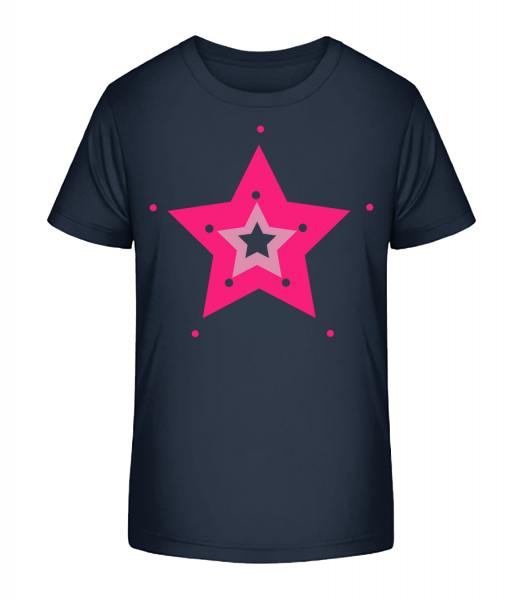 Pink Star - Kid's Premium Bio T-Shirt - Navy - Vorn