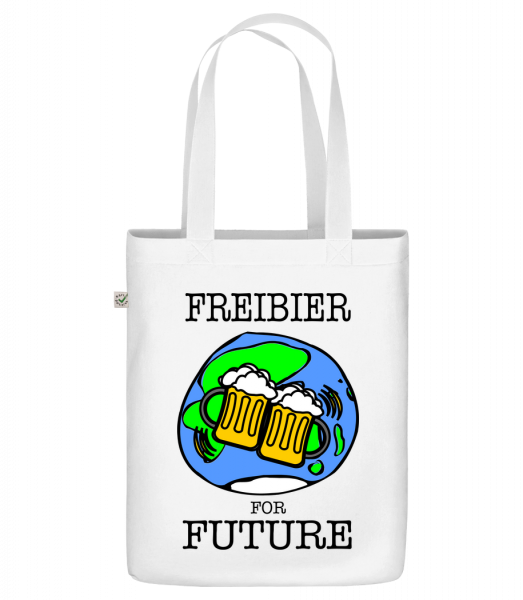 "Freibier For Future - Organic ""Earth Positive"" tote bag - White - Vorn"