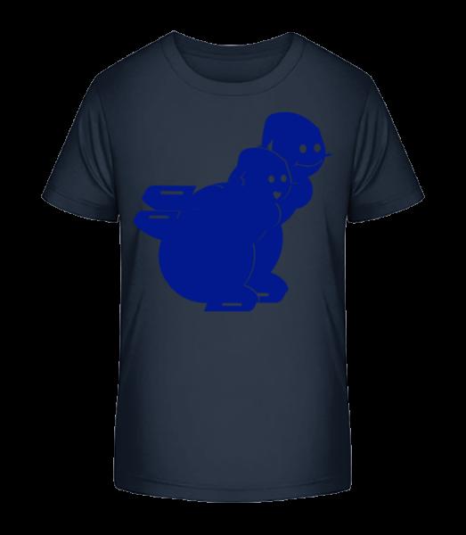 Ice Skating Snowmen Blue - Kid's Premium Bio T-Shirt - Navy - Vorn