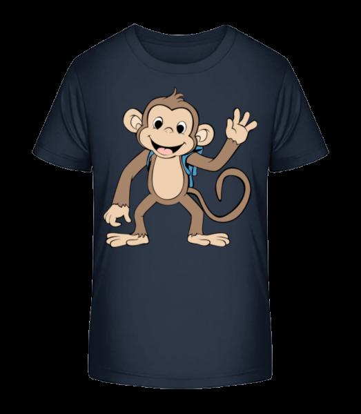 Cute Monkey With Bag - Kid's Premium Bio T-Shirt - Navy - Vorn