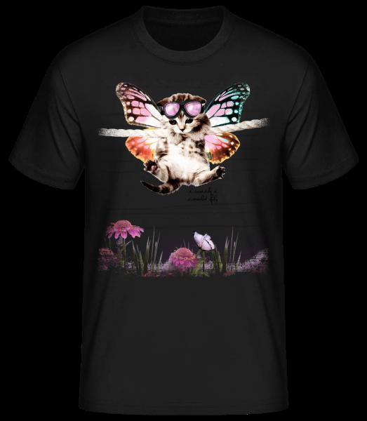 Butterfly Cat - Men's Basic T-Shirt - Black - Vorn