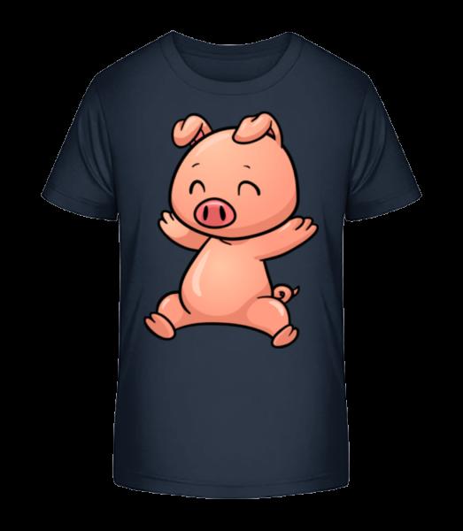 Piglet Jumping Comic - Kid's Premium Bio T-Shirt - Navy - Vorn