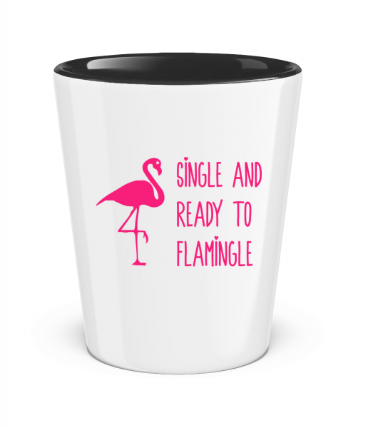 Single And Ready To Flamingle - Two-Toned Shot Glass - White - Vorn