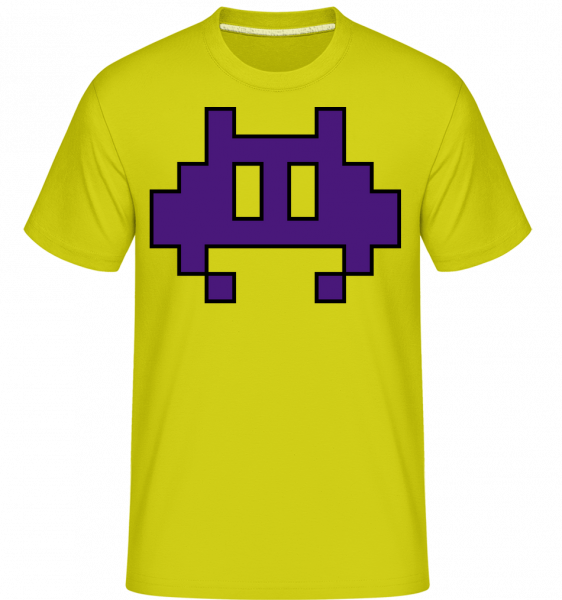 Pixel Monster Purple - Shirtinator Men's T-Shirt - Apple green - Vorn