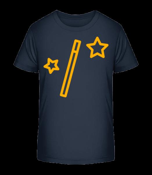 Magic Wand And Stars - Kid's Premium Bio T-Shirt - Navy - Vorn