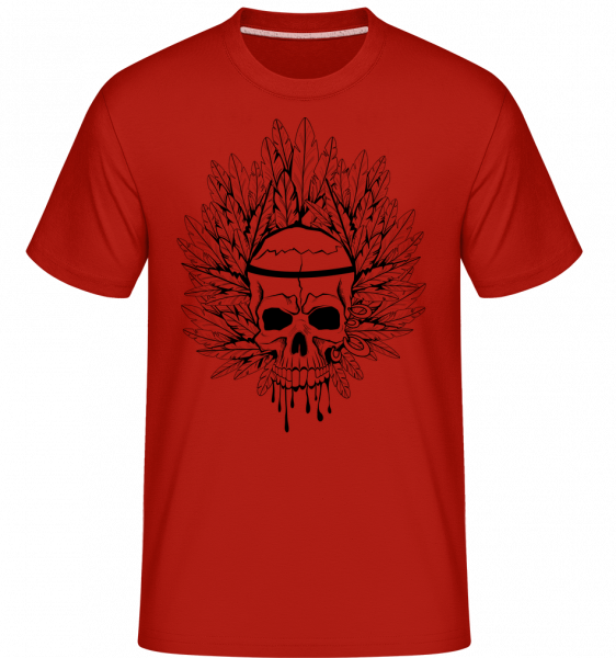 Skull Indian Tattoo -  Shirtinator Men's T-Shirt - Red - Vorn