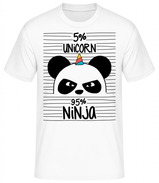 5% Unicorn 95% Ninja - Basic T-Shirt - White - Vorn