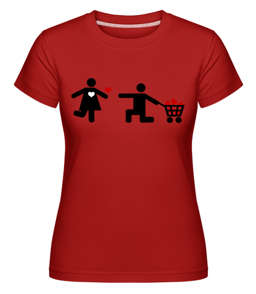 Woman And Man With Heart Logo -  Shirtinator Women's T-Shirt - Red - Vorn