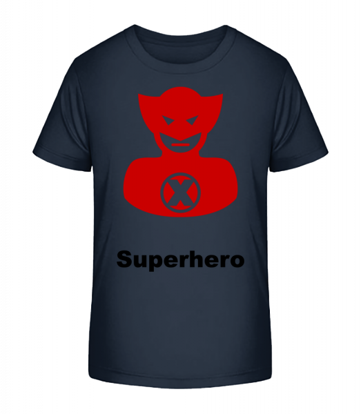 Superhero Icon Red - Kid's Premium Bio T-Shirt - Navy - Vorn