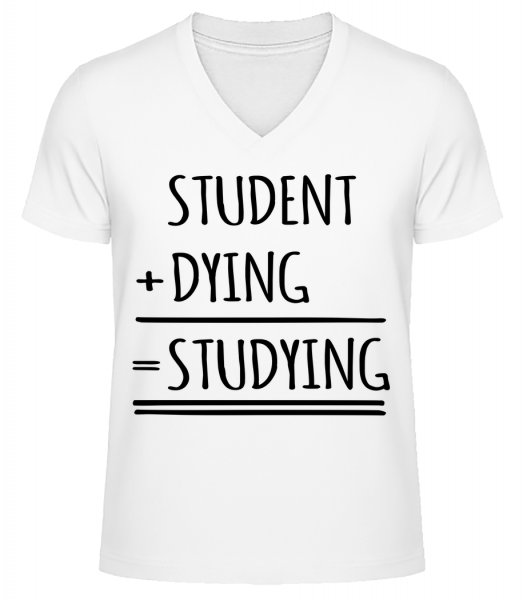 Studying Definition - Men's V-Neck Organic T-Shirt - White - Vorn