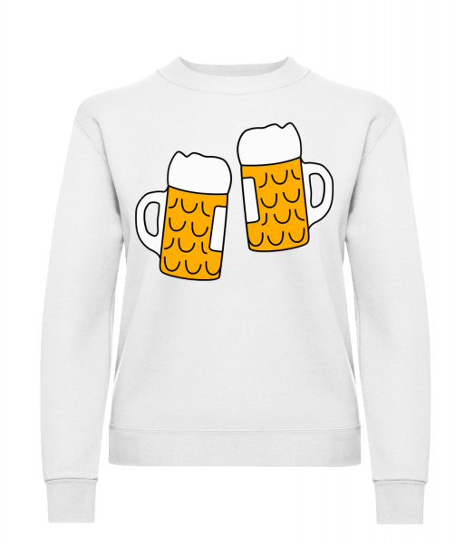 Two Beer - Classic Ladies' Set-In Sweatshirt - White - Vorn