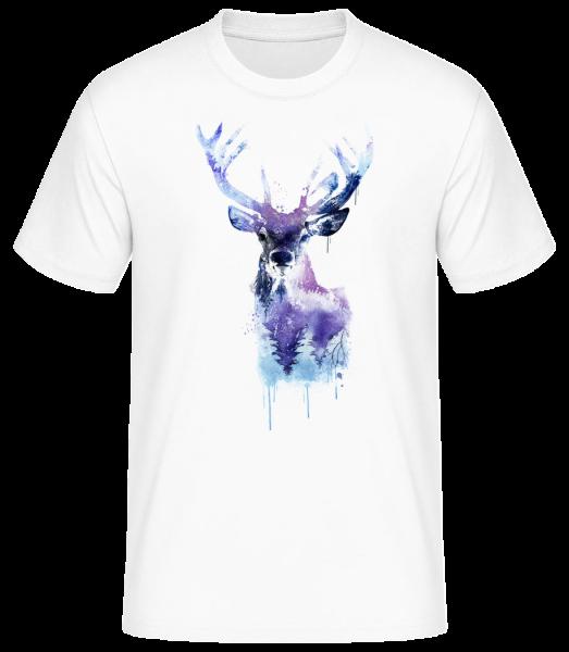 Artistic Deer - Men's Basic T-Shirt - White - Vorn