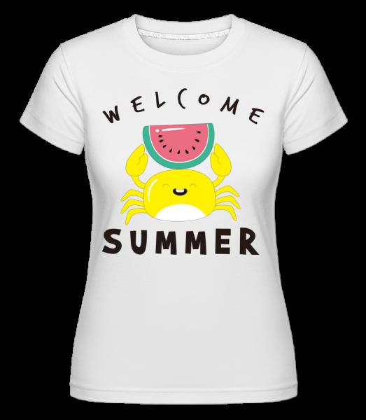 Welcome Summer Crab -  Shirtinator Women's T-Shirt - White - Vorn